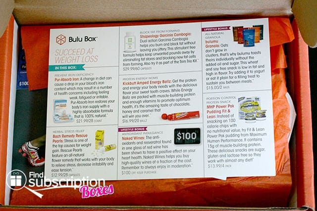 June 2014 Bulu Box Weight Loss Box Review - Product Flyer