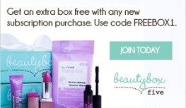 FREE Beauty Box with New Beauty Box 5 Subscriptions with code FREEBOX1