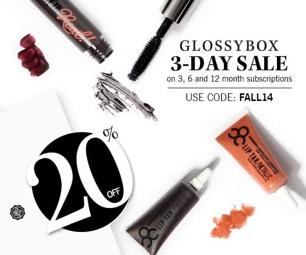 GLOSSYBOX 20% Off Fall 3-Day Sale