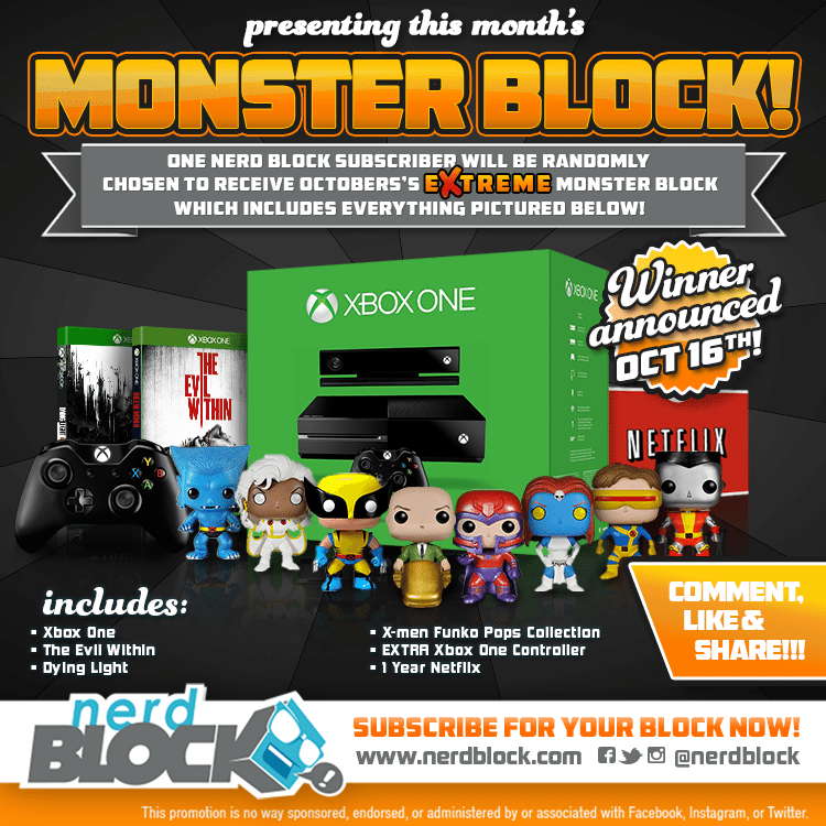 October 2014 Nerd Block Classic Box Monster Block