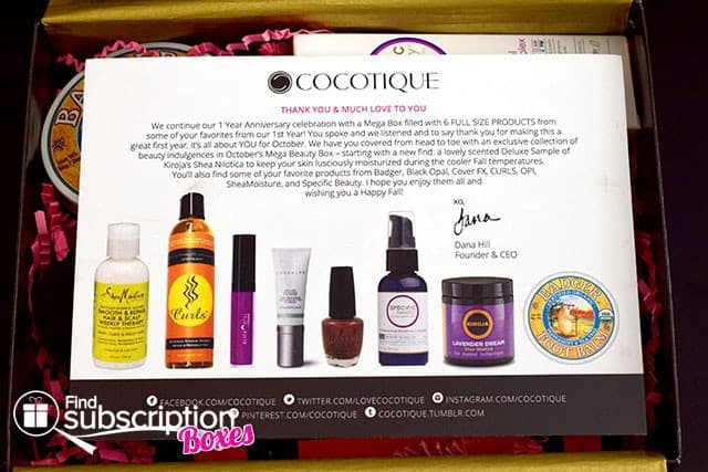 October 2014 COCOTIQUE Box Review - Product Card