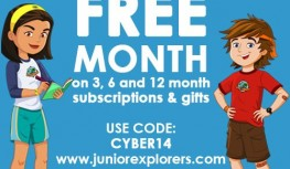 Cyber Monday 2014: Get Your 1st Junior Explorers Box FREE with New 3+ Month Subscriptions with Code CYBER14