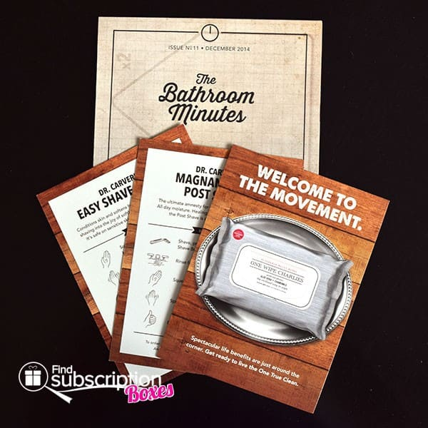 December 2014 Dollar Shave Club Box Review - Bahtroom Minutes & Product Cards