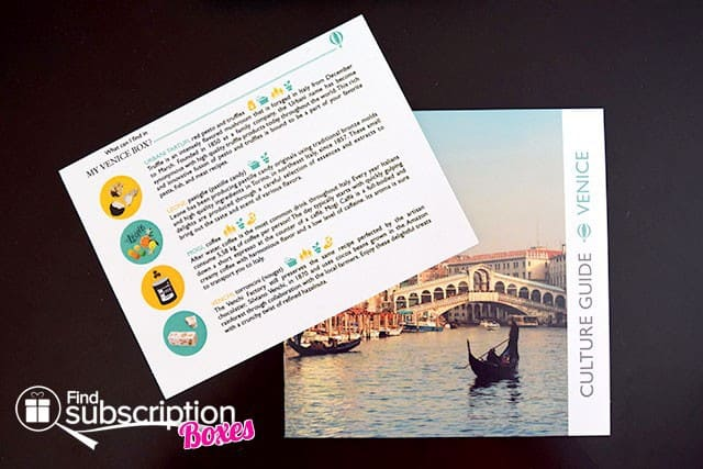 Try The World February 2015 Venice Box Review - Product Card & Culture Guide