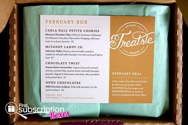 Treatsie February 2015 Box Review - Inside the Box