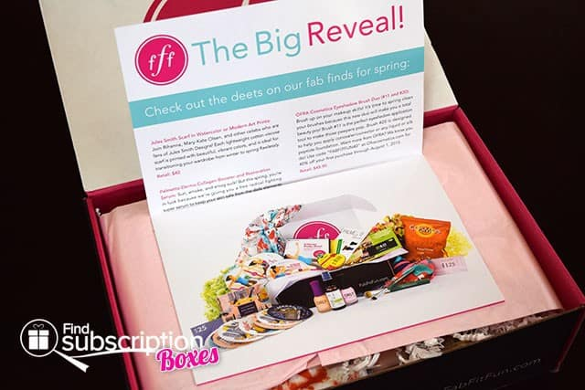 FabFitFun Spring 2015 VIP Box Review - Product Flyer