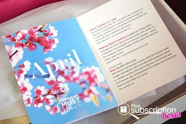POPSUGAR Must Have April 2015 Box Review - Product Flyer