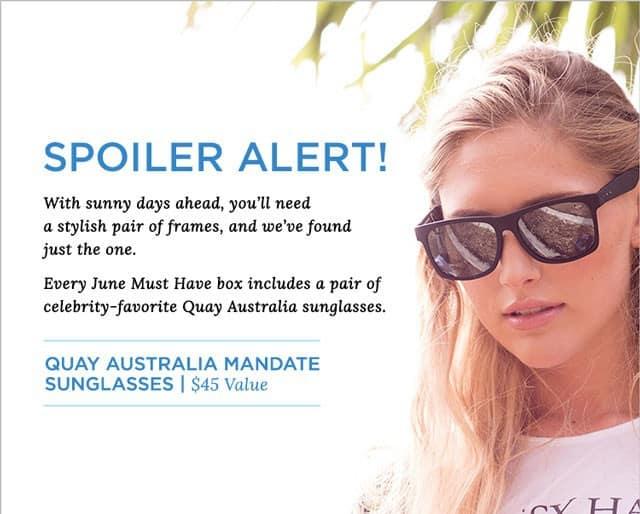 POPSUGAR Must Have Box June 2015 Box Spoiler - Quay Australia Sunglasses
