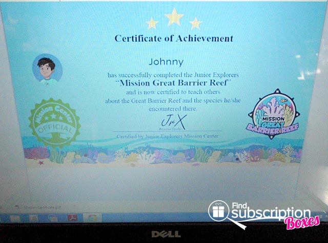 Junior Explorers Great Barrier Reefs Mission Review - Certificate