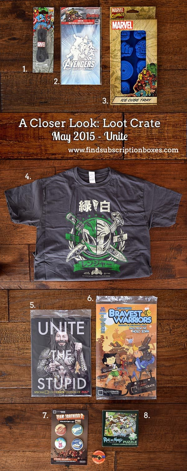 Loot Crate May 2015 Box Review - Unite Crate - Inside the Box