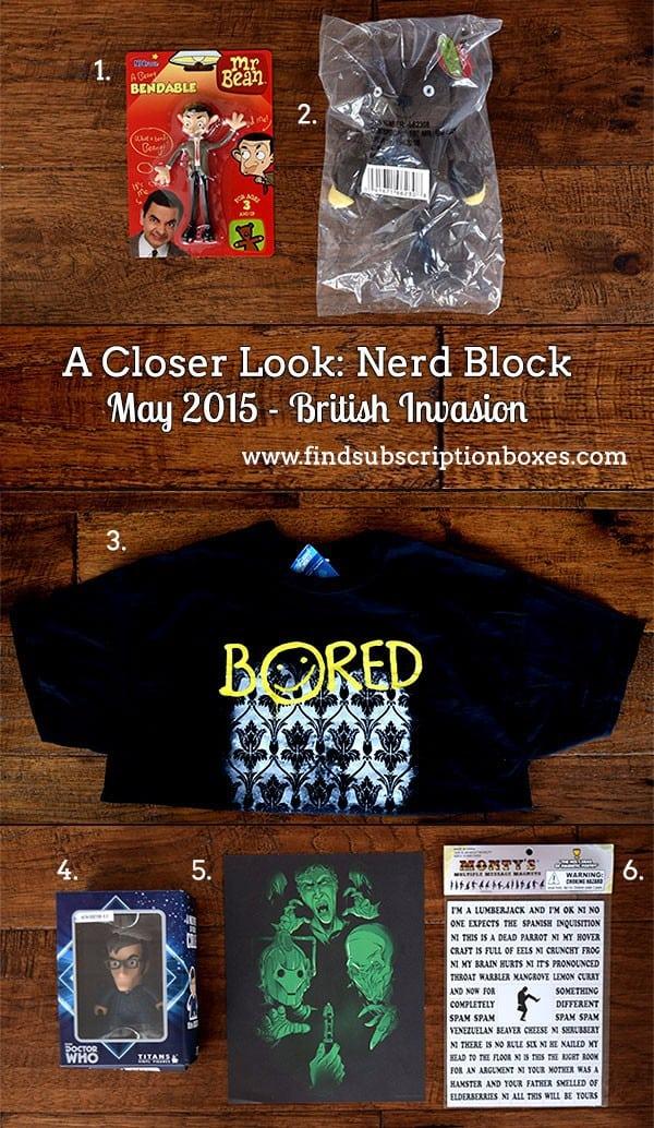 Nerd Block June 2015 British Invasion Classic Block Box Review - Inside the Box