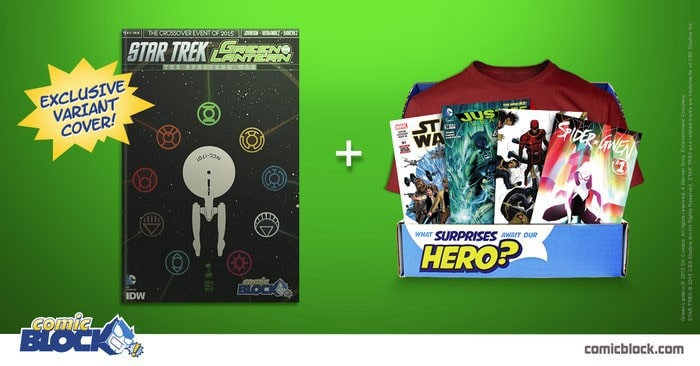 Comic BLock July 2015 Box Spoiler - Star Trek/Green Lantern Variant Cover