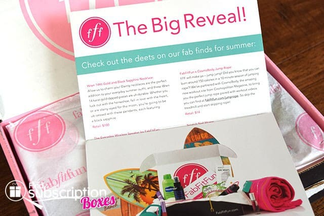 FabFitFun Summer 2015 VIP Box Review - Product Flyer