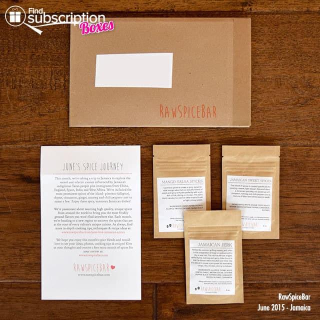 RawSpiceBar June 2015 Spice Box Review - Box Contents