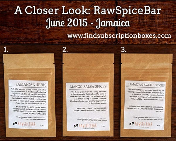 RawSpiceBar June 2015 Spice Box Review - Inside the Box