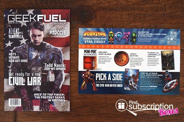 Geek Fuel July 2015 Box Review - Product Card & Magazine