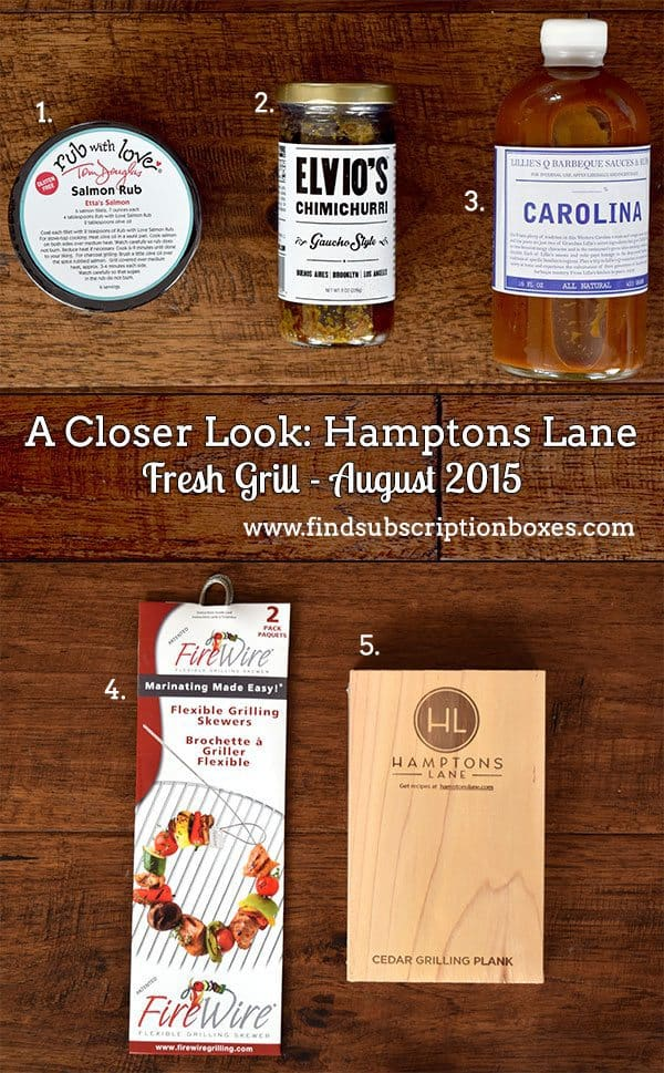 Hamptons Lane August 2015 Box Review - Fresh Grill Box - Inside the Box