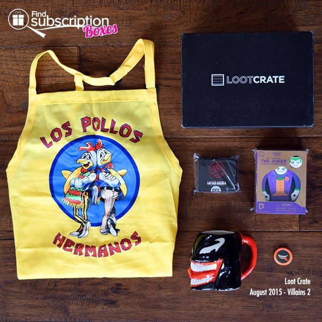 Loot Crate August 2015 Box Review - Villains 2 Crate - Box Contents