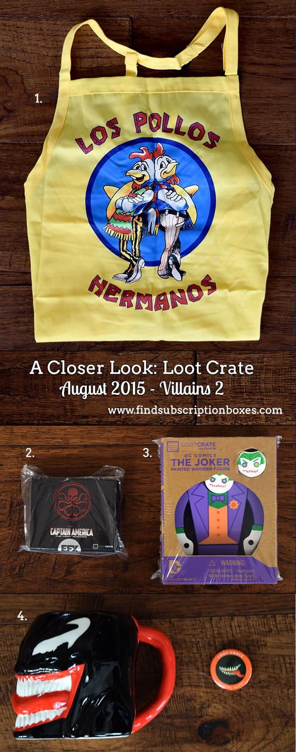 Loot Crate August 2015 Box Review - Villains 2 Crate - Inside the Box
