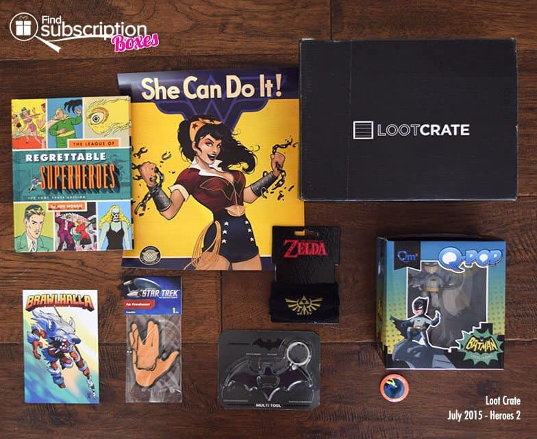 Loot Crate July 2015 Box Review - Heroes 2 Crate - Box Contents