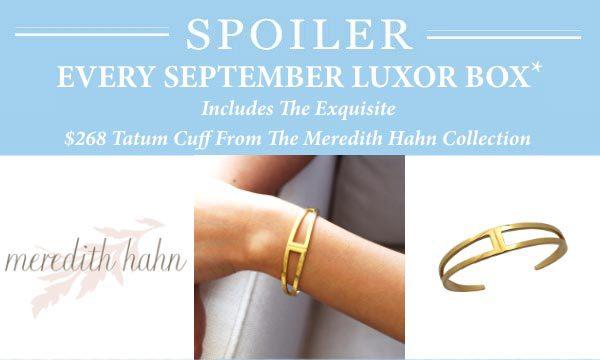 Luxor Box September 2015 Box Spoiler - Meredith Hahn Tatum Cuff