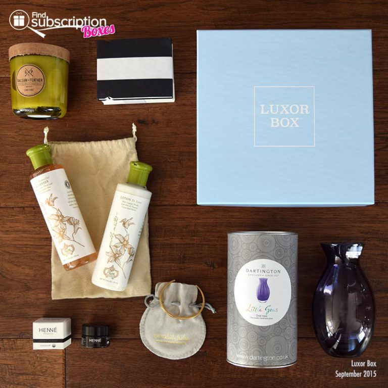 Luxor Box September Box Review - Box Contents