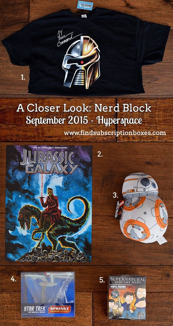 Nerd Block Hyperspace September 2015 Classic Block Box Contents