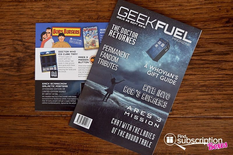 Geek Fuel September 2015 Box Review - Magazine & Product Card