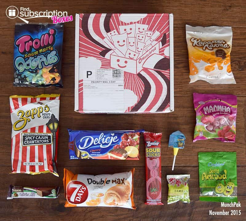 MunchPak Review - November 2015 Box Contents