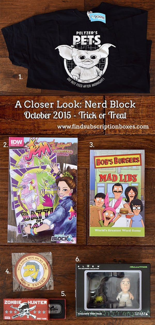 Nerd Block Review - Trick or Treat October 2015 Inside the Box