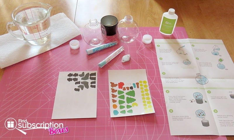 Kiwi Crate My Glowing Snow Globes Crate Review - Activity Set-up