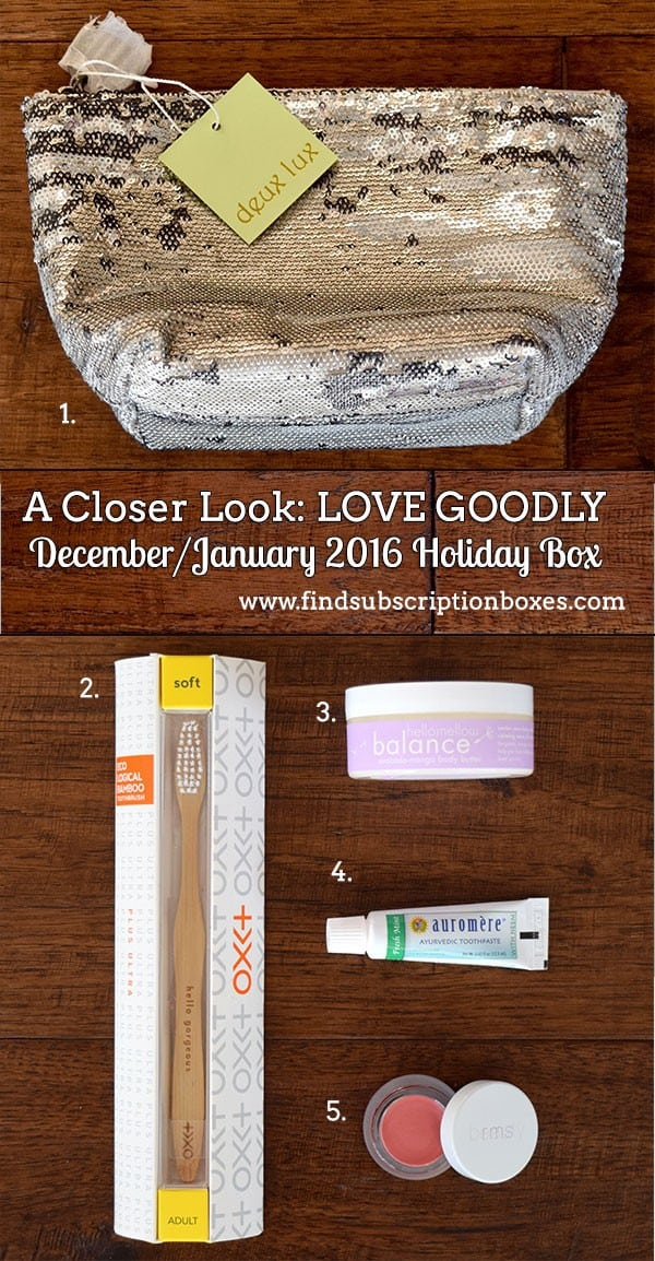 LOVE GOODLY Review - December/January 2016 Holiday Box Inside the Box