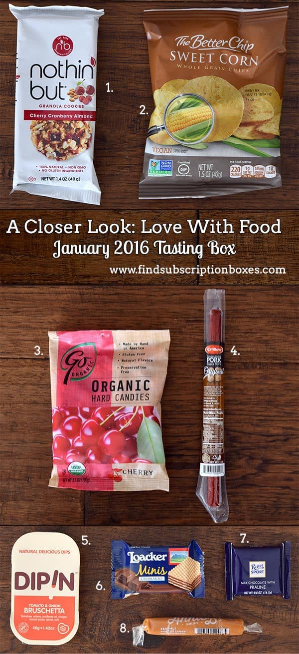 Love With Food January 2016 Tasting Box Review - Inside the Box