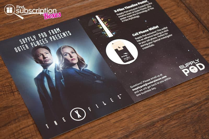February 2016 Supply Pod Review - The X-Files - Product Flyer