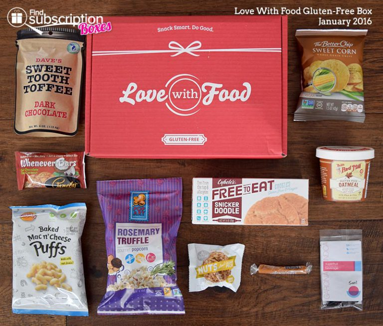 Love With Food January 2016 Gluten-Free Box Review - Box Contents