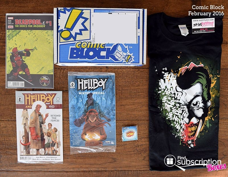 February 2016 Comic Block Box Review - Box Contents