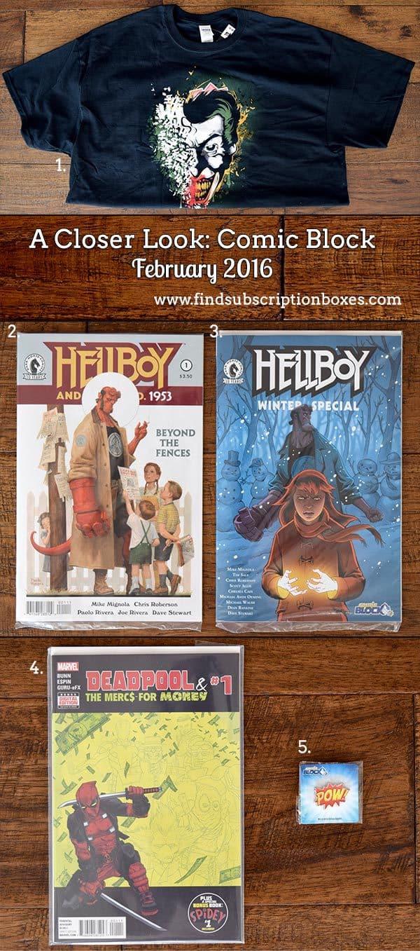 Comic Block February 2016 Box Review - Inside the Box