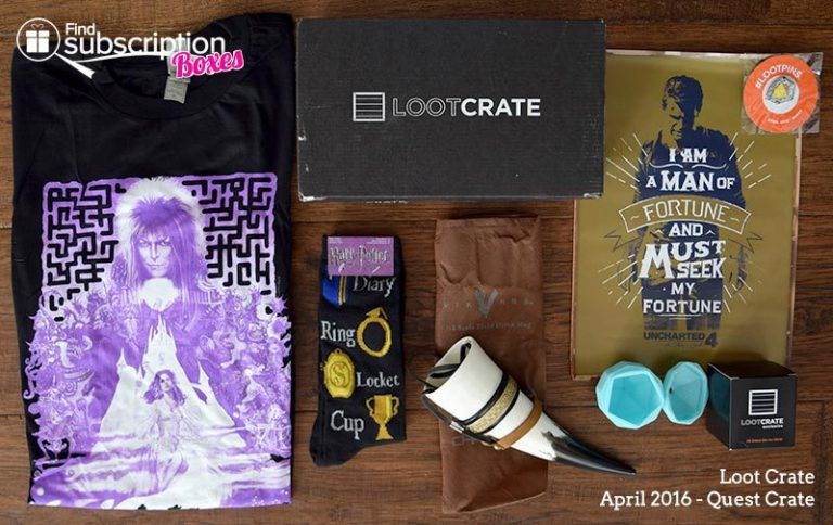 April 2016 Loot Crate Review - Quest Crate - Box Contents