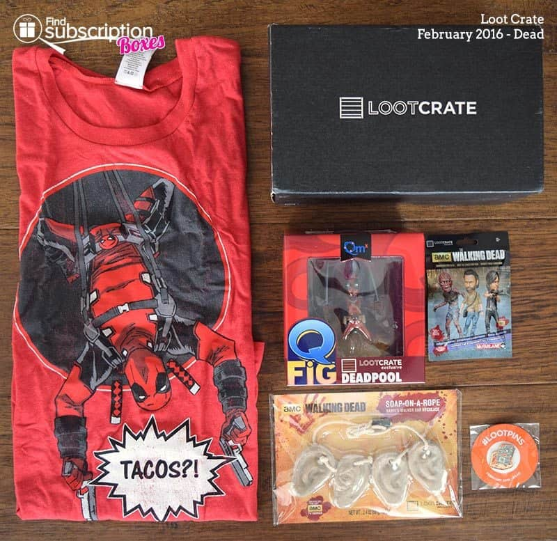 February 2016 Loot Crate Review - Dead Crate - Box Contents