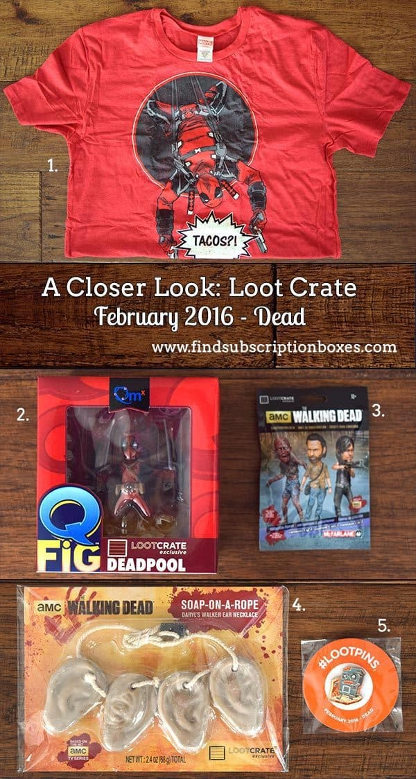 February 2016 Loot Crate Review - Dead Crate - Inside the Box