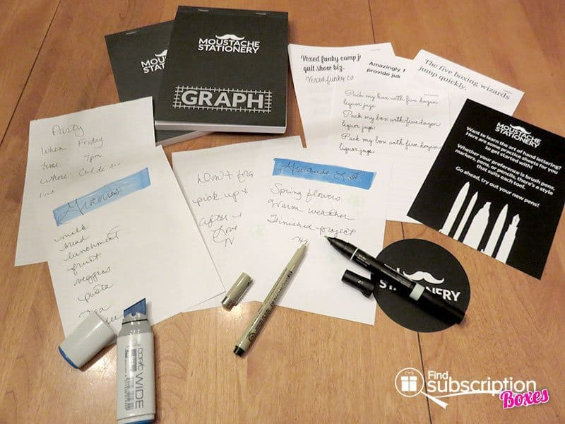 February 2016 Moustache Stationery Review - Inside the Box