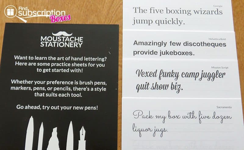 February 2016 Moustache Stationery Review - Practice Sheets