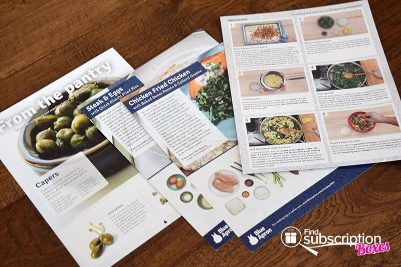 March 2016 Blue Apron Review - Recipe Cards