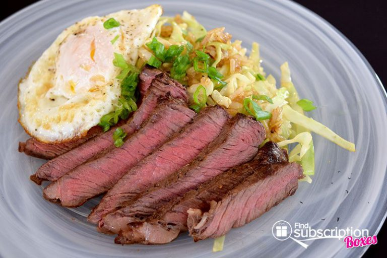 March 2016 Blue Apron Review - Steak & Eggs with Quick Kimchi Fried Rice