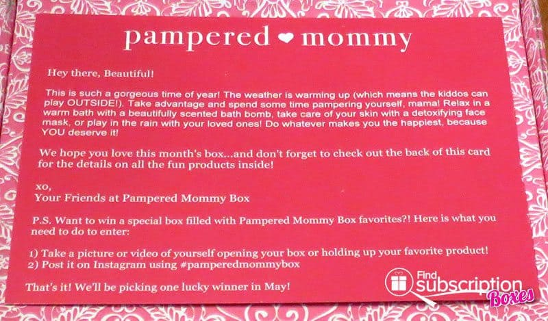 April 2016 Pampered Mommy Box Review - Product Card