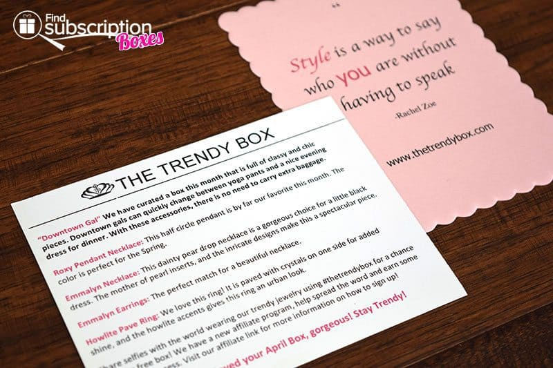 April 2016 The Trendy Box Review - Product Card