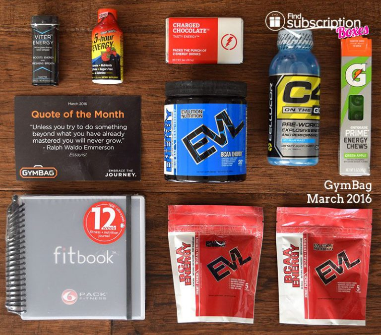 March 2016 GymBag Review - Box Contents