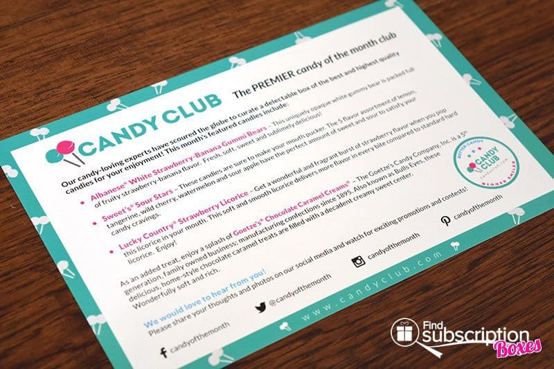 May 2016 Candy Club Review - Product Card