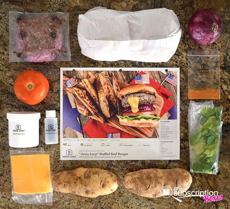 Home Chef May 2016 Review - Juicy Lucy Burger Ingredients