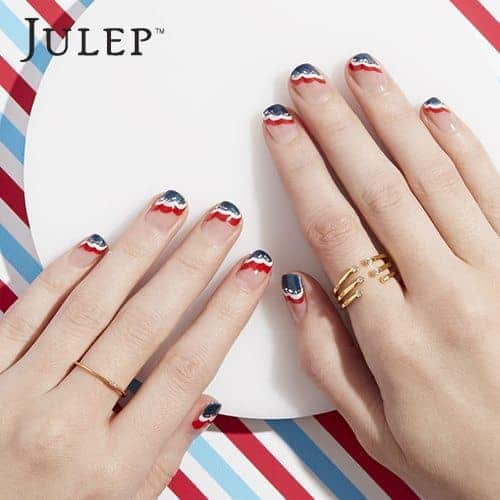 Julep Maven Nail Art Inspiration - Red, White & Blue Waves